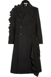 Pleated ruffled wool coat