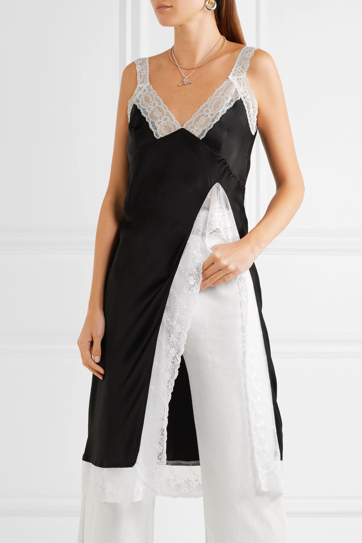 Facetasm Lace-trimmed silk-satin top