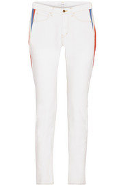 Facetasm Striped wool-trimmed mid-rise slim-leg jeans