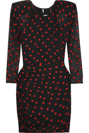 Carmen March Embroidered polka-dot silk-blend chiffon mini dress