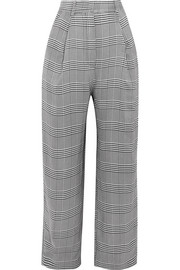 Houndstooth woven wide-leg pants