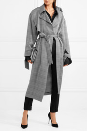 Belted houndstooth woven trench coat