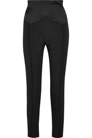 Carmen March Satin-paneled crepe skinny pants