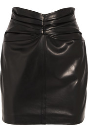 Carmen March Ruched leather mini skirt