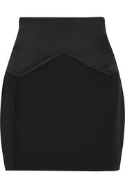 Carmen March Satin-paneled crepe mini skirt