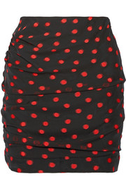 Carmen March Ruched polka-dot fil coupé silk-blend mini skirt