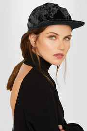 Sequin-embellished velvet baseball cap