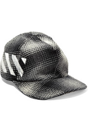 Checked cotton-blend baseball cap
