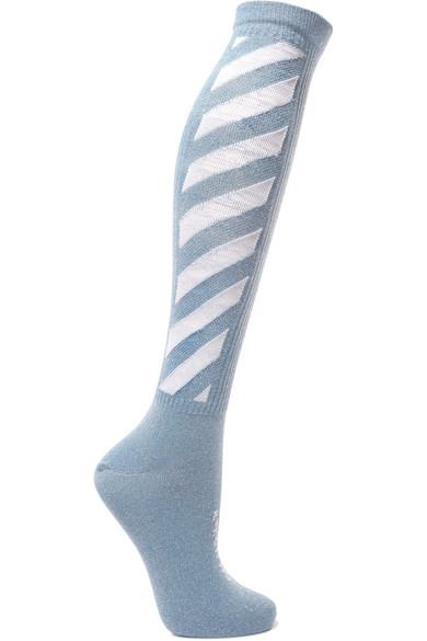 Off-White - Metallic Intarsia Cotton-blend Socks - Light blue