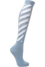 Metallic intarsia cotton-blend socks