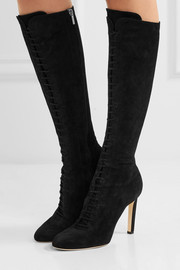 Jimmy Choo Desiree 100 lace-up suede knee boots