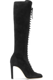 Desiree lace-up suede knee boots