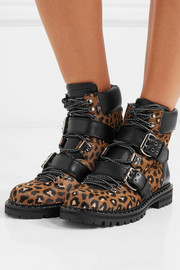 Jimmy Choo Breeze studded leather-trimmed leopard-print calf hair ankle boots