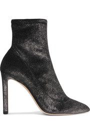 Louella 100 metallic stretch-velvet sock boots