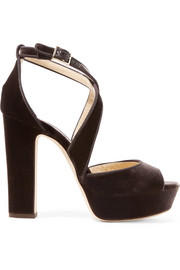 April 120 grosgrain-trimmed velvet platform sandals