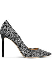 Jimmy Choo Romy 100 glittered patent-leather pumps