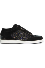 Jimmy Choo Miami glitter-paneled suede sneakers