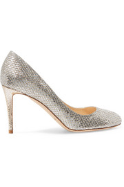 Jimmy Choo Bridget 85 glittered leather pumps