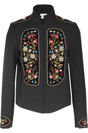 Misha embroidered velvet-paneled gabardine jacket