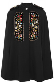 Eugenia embroidered velvet-paneled twill cape