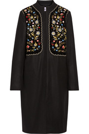 Fotina embroidered velvet-paneled wool-blend coat