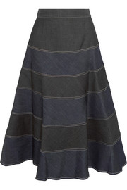 Matrona striped denim midi skirt