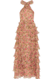 Sabina tiered floral-print crinkled silk-georgette gown