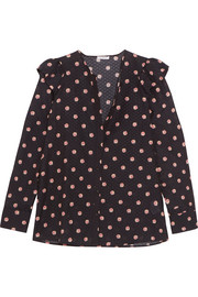 Ella floral-print Swiss-dot cotton and silk-blend blouse