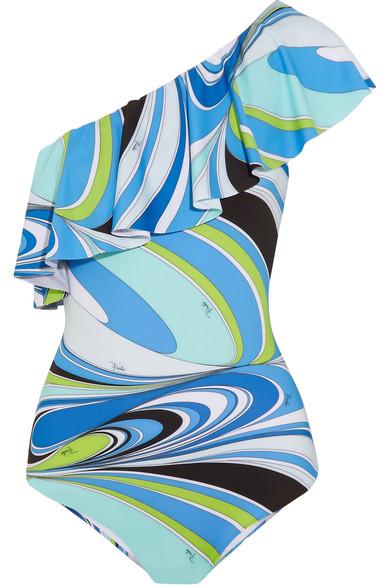 Emilio Pucci - Libellula Ruffled One-shoulder Printed Swimsuit - Blue