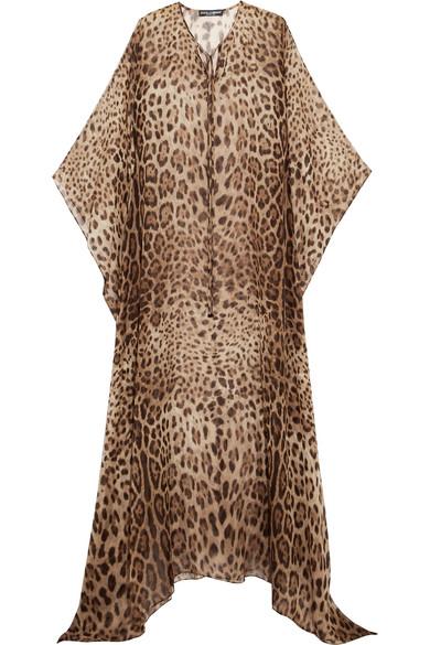 Dolce & Gabbana - Leopard-print Silk-chiffon Kaftan - Leopard print