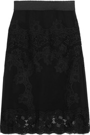 Dolce & Gabbana Lace-paneled silk-blend chiffon skirt