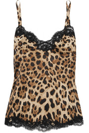 Lace-trimmed leopard-print stretch-silk satin camisole