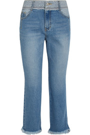 SJYP Cropped distressed mid-rise flared jeans