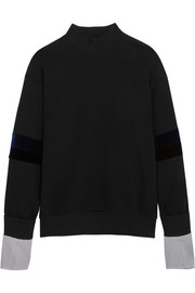 SJYP Steve J & Yoni P Velvet and striped poplin-paneled cotton-jersey sweatshirt
