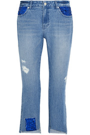Spangle distressed sequined high-rise straight-leg jeans