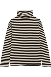 SJYP Steve J & Yoni P Embroidered striped cotton-blend turtleneck top
