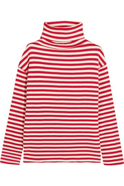 SJYP Steve J & Yoni P Embroidered ribbed striped cotton-blend turtleneck sweater