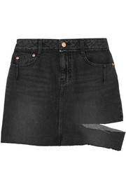SJYP Steve J & Yoni P Cutout distressed denim mini skirt