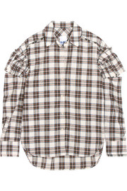 Cutout ruffled plaid flannel shirt