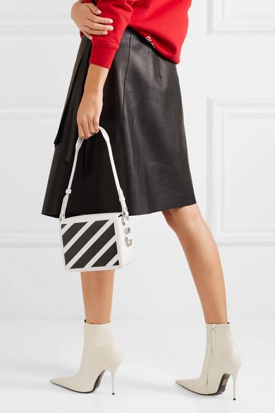 Off-White Schultertasche aus strukturiertem Leder mit Streifen