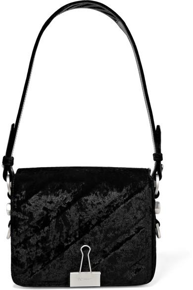 OFF-WHITE BLACK VELVET DIAGONAL BINDER CLIP BAG ... 02119b4d384c9