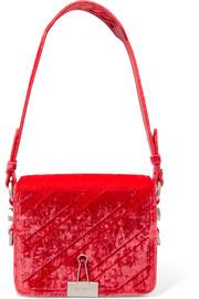 Embossed velvet shoulder bag