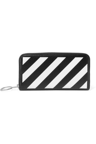 1c6ea281b15a Off-White. Striped medium textured-leather continental wallet