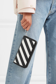 Striped medium textured-leather continental wallet