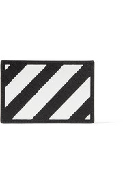Off-White Striped textured-leather cardholder