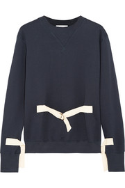 Canvas-trimmed cotton-jersey sweatshirt