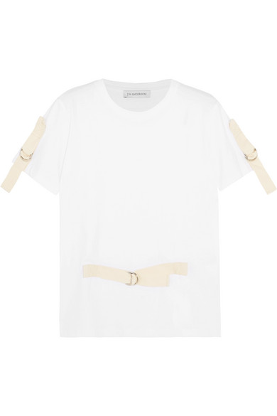 J.W.Anderson - Canvas-trimmed Cotton-jersey T-shirt - White