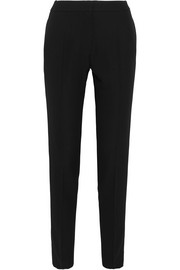 Pallas Satin-trimmed grain de poudre wool tapered pants