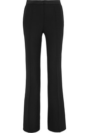 Pallas Satin-trimmed grain de poudre wool flared pants
