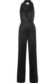 Satin-trimmed cutout grain de poudre jumpsuit